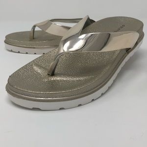 Gold Toe Metallic Flip Flops